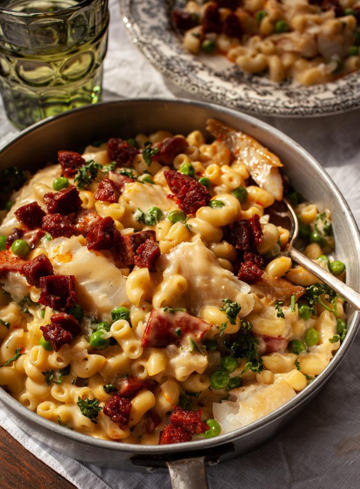 Smoked haddock, pea and chorizo macaroni cheese, by Kirsty Scobie and Fenella Renwick