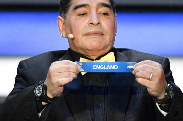 Argentina's former midfielder Diego Maradona displays the slip of England.