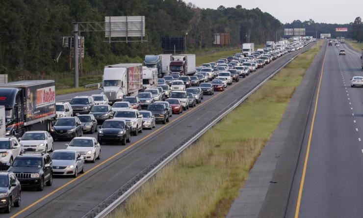 Hurricane Irma evacuating traffic streaming out of Florida creeps along northbound Interstate 75.