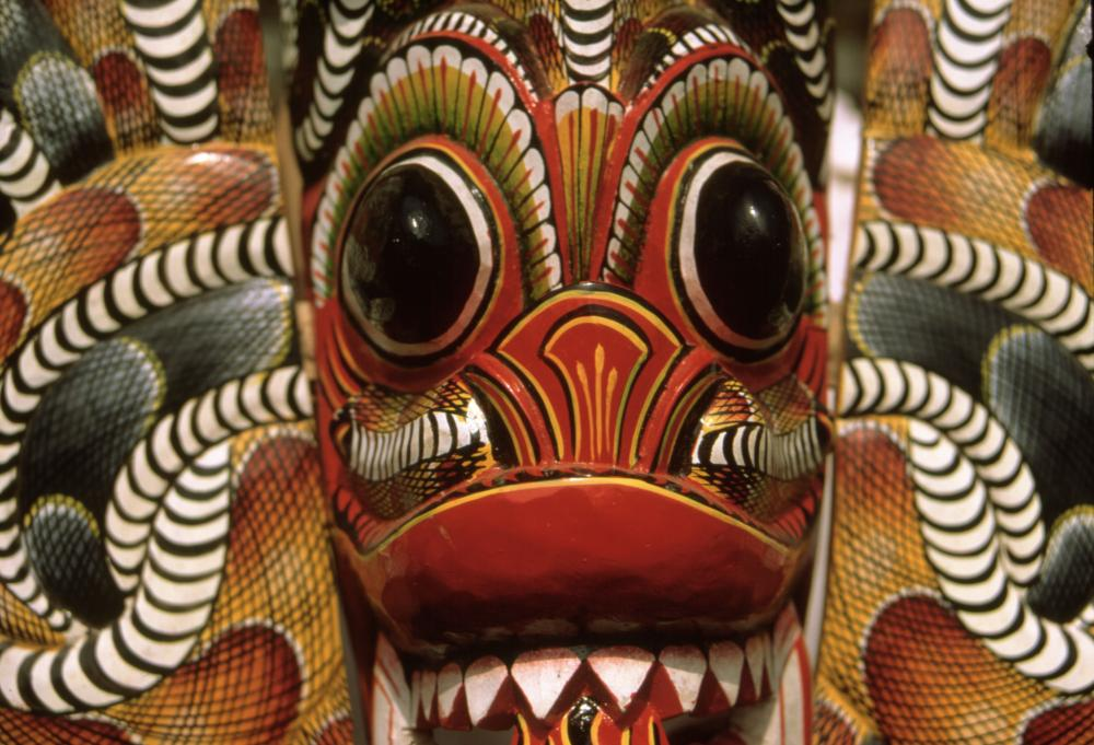 A fearsome devil mask made in Sri Lanka