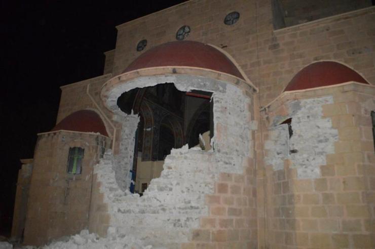 A damaged church on the island of Kos.