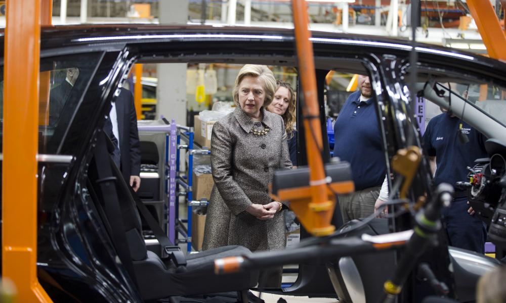 Democratic presidential candidate Hillary Clinton visits the AM General plant.