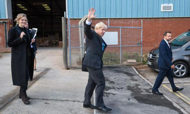 Boris Johnson leaving Exeter College Construction Centre, where he delivered his speech earlier.