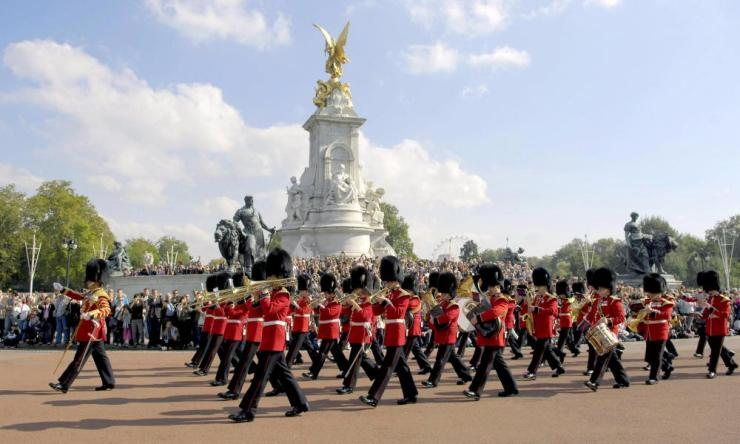 Grenadier Guards taking part in the Changing the Guard ceremony outside Buckingham Palace in London