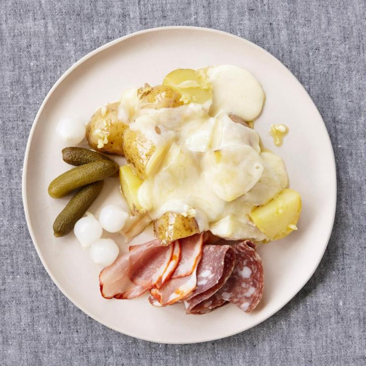 Rosie Reynolds' new potatoes with raclette and pickles.