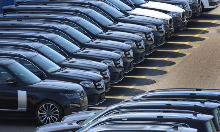 SUVs of Range Rover, Mercedes Benz and BMW at the port of Bremerhaven, northern Germany.