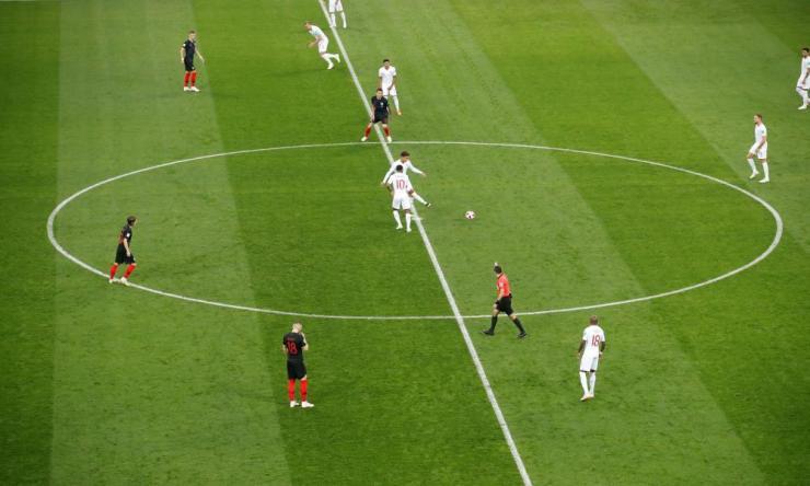 England kick off the match.