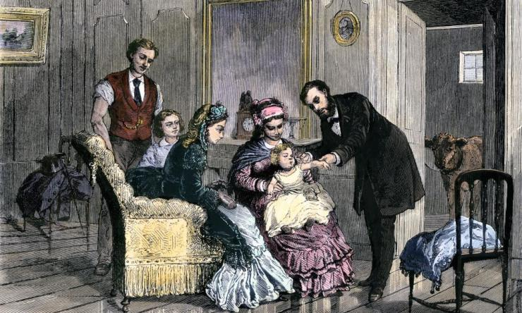 Vaccination during a smallpox outbreak in the 1870s.