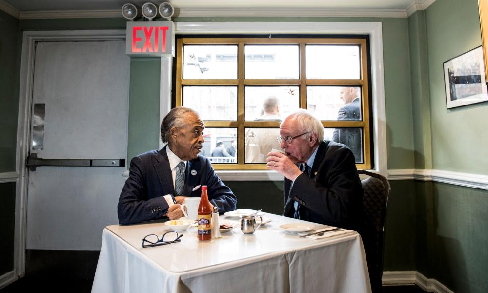 Bernie Sanders meets with the Reverend Al Sharpton at Sylvia's Restaurant in the Harlem neighborhood of New York City.