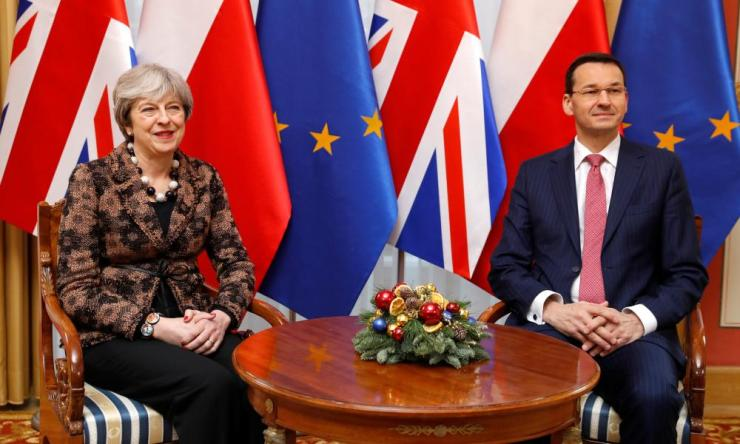 Theresa May meeting the Polish prime minister Mateusz Morawiecki.