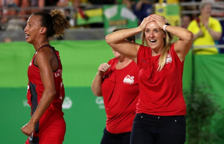 England coach Tracey Neville (right) celebrates winning gold in the Women's Netball at the Coomera Indoor Sports Centre during day eleven of the 2018 Commonwealth Games.
