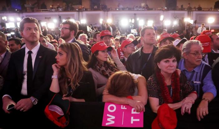 It's been a long night, it's the early hours of the morning in the US and they're still awaiting the final results at Trump's gathering at the New York Hilton Midtown.