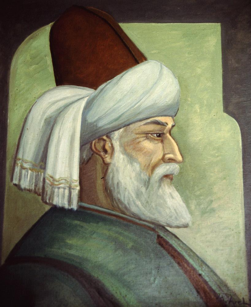 Portrait of Rumi, the celebrated poet and Muslim scholar.