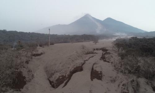 The ash-covered landscape in the aftermath of the eruption of Volcan de Fuego in Guatemala.