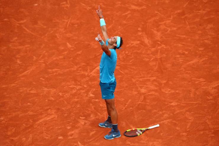 Nadal celebrates victory.