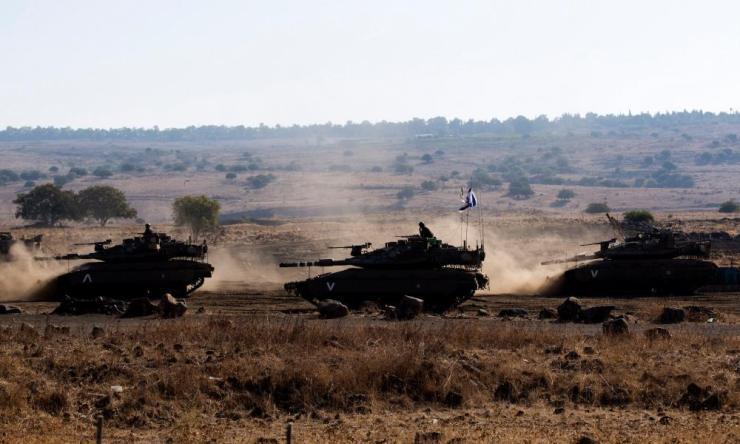 Israeli tanks in the Golan Heights.