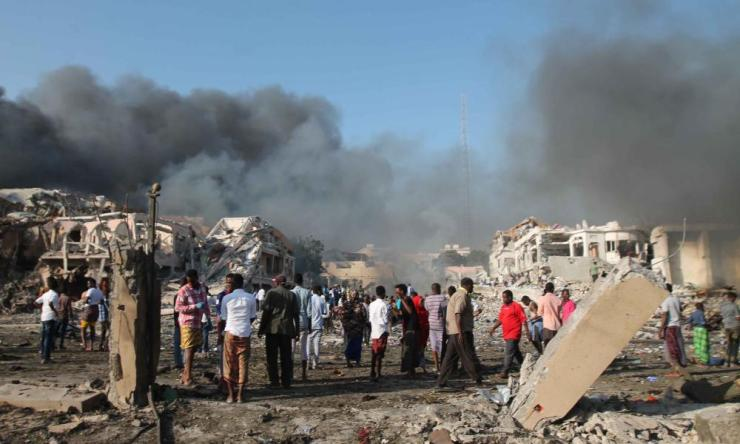 The explosion site in Mogadishu.