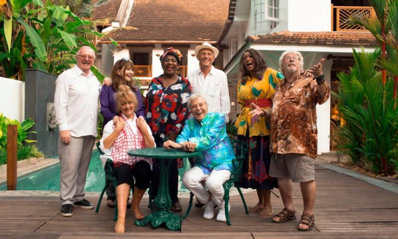 Miriam Stoppard (second from left) checks into The Real Marigold Hotel with Dennis Taylor, Amanda Barrie, Rustie Lee, Lionel Blair, Paul Nicholas, Sheila Ferguson and Bill Oddie