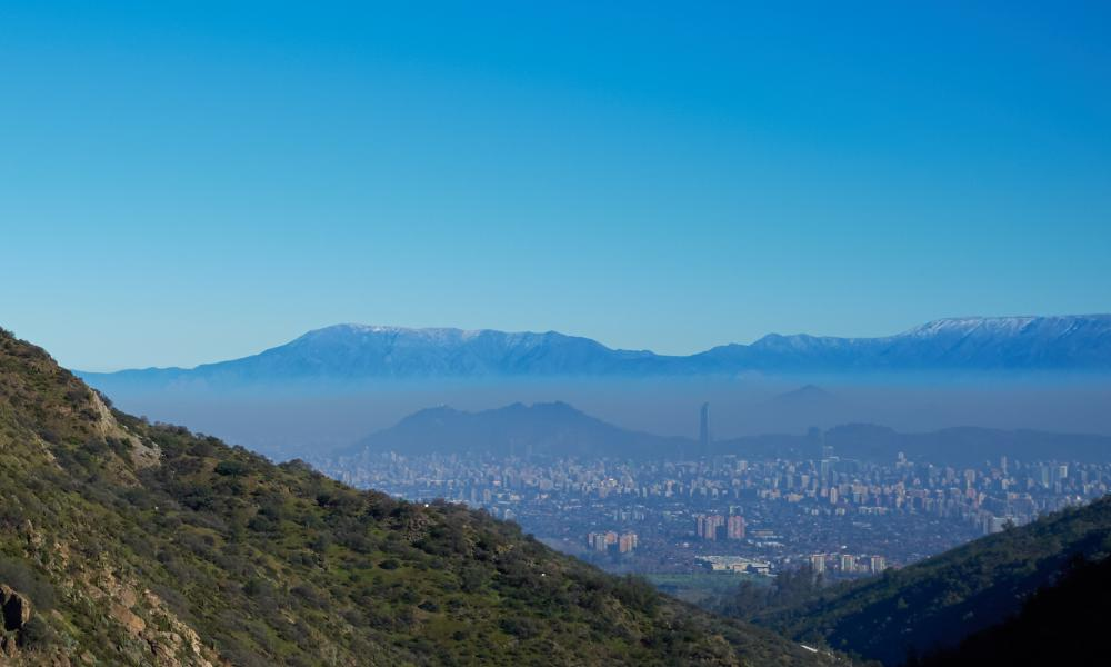 View over the city of Santiago, capital of Chile. Viewed from Parque Aguas de Ramon in the foothills of the Andes Mountains