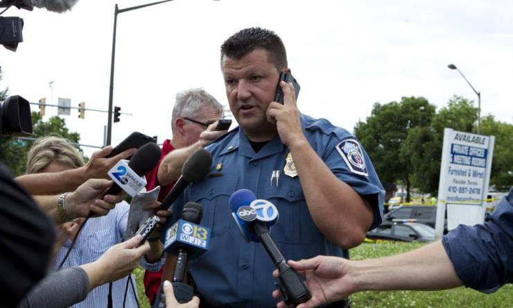 Maryland police Lt Ryan Frashure speaks to the media.