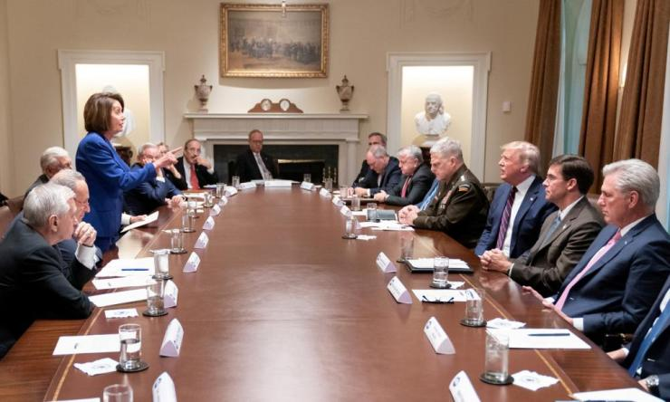 Nancy Pelosi gets under the president's skin in a meeting in the White House cabinet room on 17 October.
