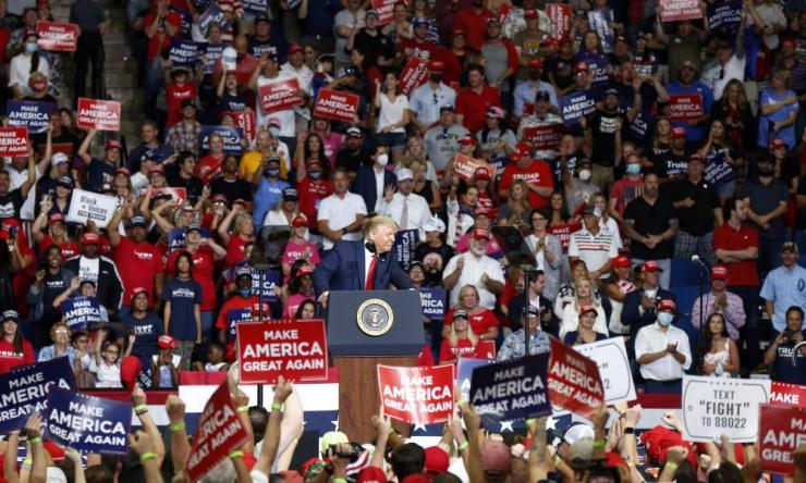 "President Donald Trump speaks at BOK Center during his rally in Tulsa, Oklahoma on 20 June 2020. The head of the Tulsa-County Health Department says Trump's campaign rally in late June ""likely contributed"" to a dramatic surge in new coronavirus cases there."
