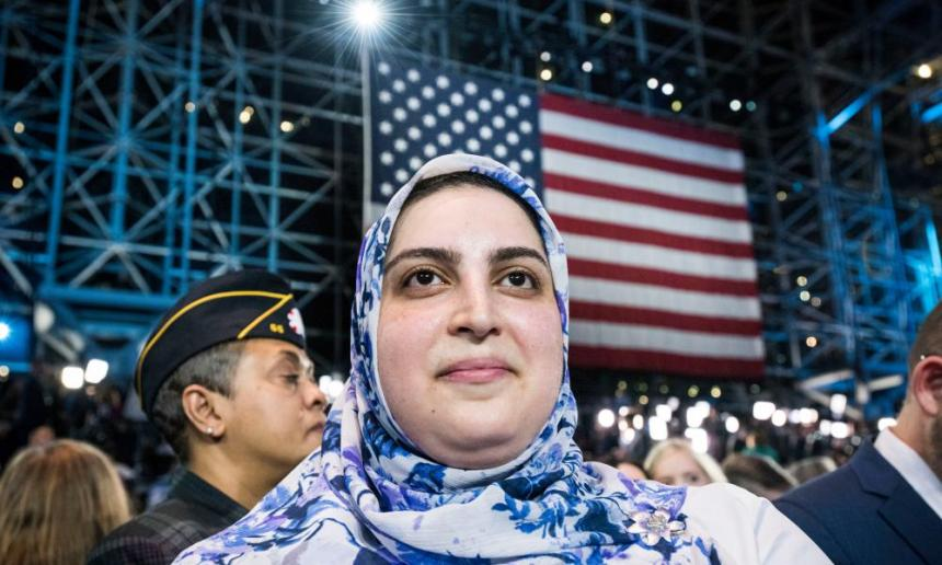 Hilary supporter Fatima Hozien, 28 , of New Jersey, responds as election results come in at the Hilary Clinton election party at the Jacob Javits Convention Center, NYC.