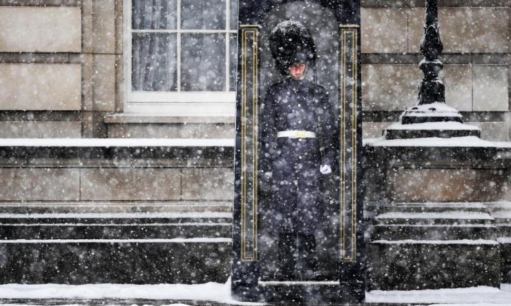 A British Army soldier from a Guards Regiment on duty outside Buckingham Palace