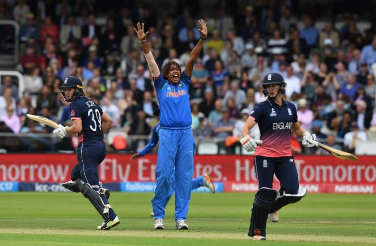 Goswami celebrates taking Sciver for 51.