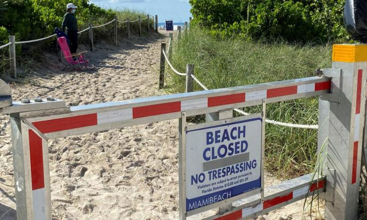 South Florida beaches closed ahead of the Fourth of July weekend, in Miami Beach.