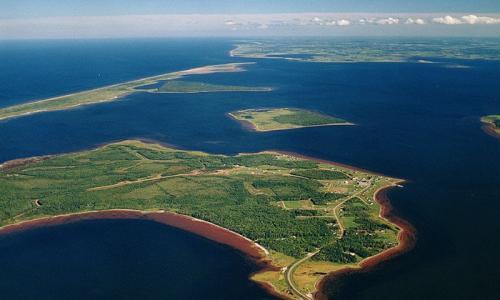 Aerial view of Lennox Island, Canada