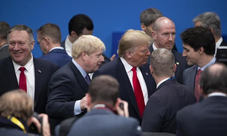 From left: Mike Pompeo, Boris Johnson, Donald Trump and Justin Trudeau confabbing at a NATO leaders summit in Britain last month.