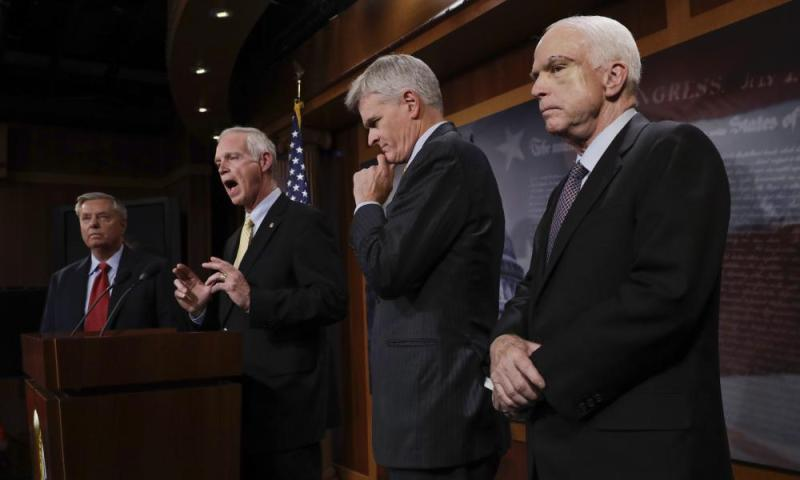 From left: Lindsey Graham, Ron Johnson, Bill Cassidy and John McCain.