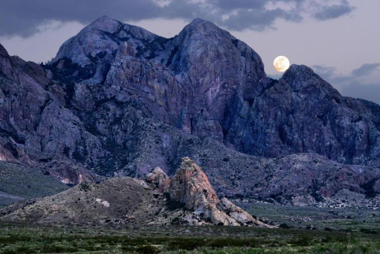 Moon over Baldy Peak and La Cueva, on the west side of the Organ Mountains-Desert Peak, New Mexico.