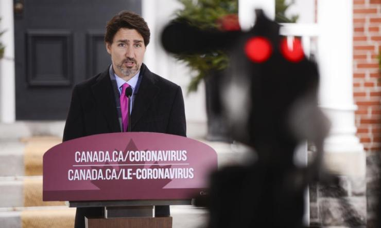 Canadian Prime Minister Justin Trudeau addresses Canadians on the COVID-19 pandemic on Wednesday,