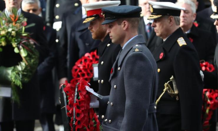The Duke of Sussex, the Duke of Cambridge and the Duke of York during the remembrance service at the Cenotaph memorial in Whitehall, central London.