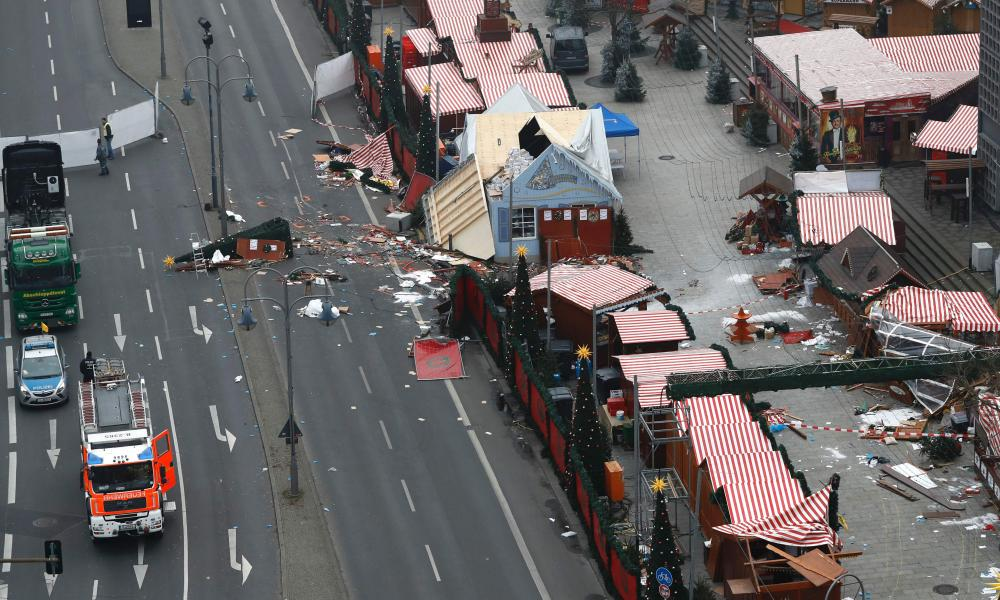 The scene of the attack after a lorry smashed into a busy Christmas market in central Berlin.