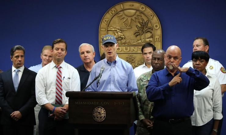Florida Governor Rick Scott gives an update to the media.