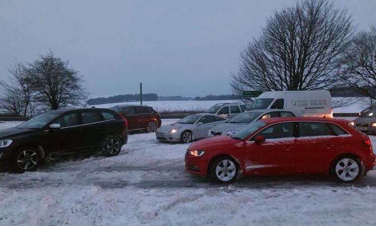 Stranded cars on the A303 between Ilminster, Somerset and Mere, Wiltshire