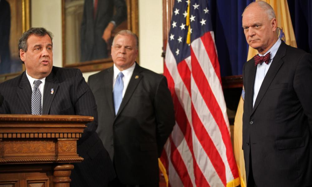 Chris Christie holds a news conference in Trenton.