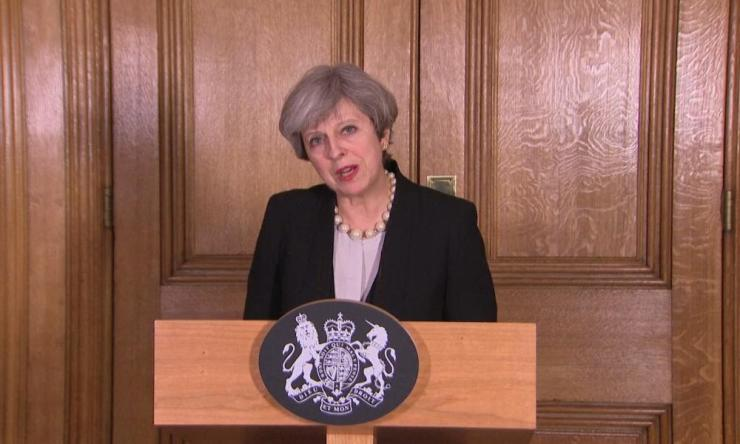 Theresa May speaking in Downing Street on Tuesday night