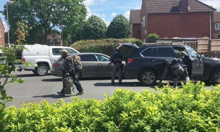 The Facebook page of Nathan Brown shows armed police in Elsmore Road, south Manchester