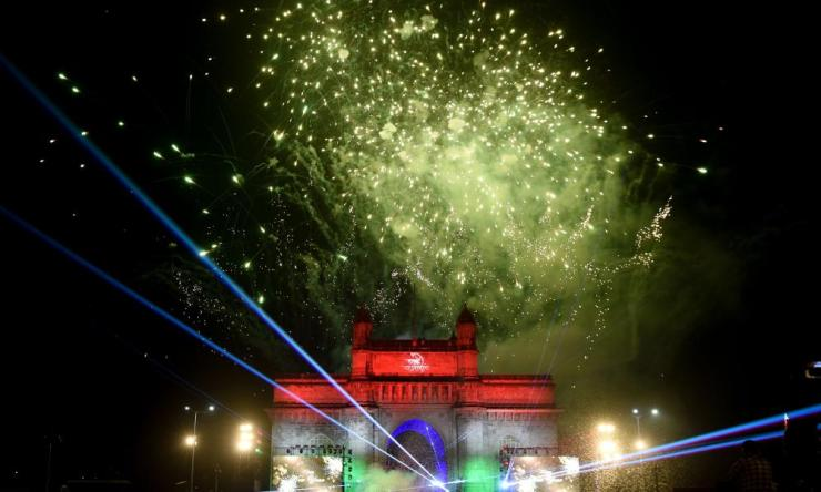 Fireworks erupt over Mumbai's iconic Gateway of India.