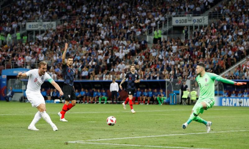 England's Harry Kane misses a chance to score