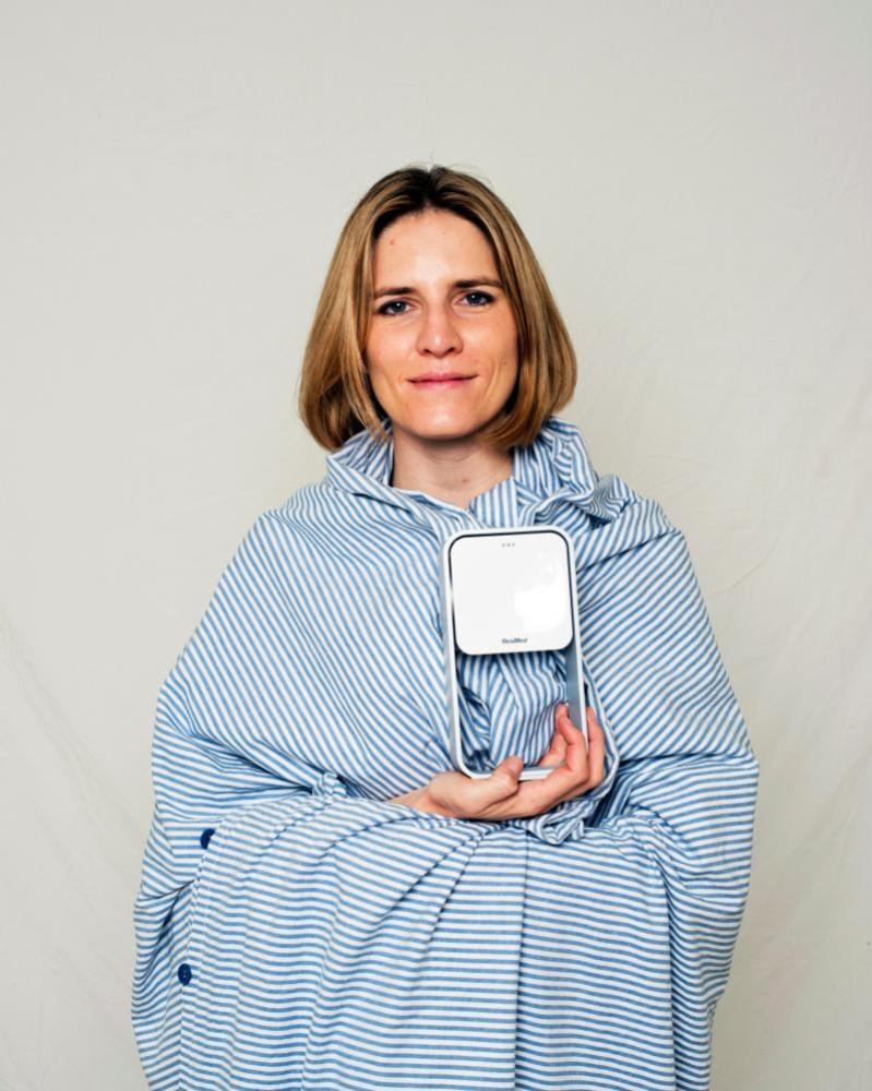 Emma Graham-Harrison with the S+ Sleep Monitor.