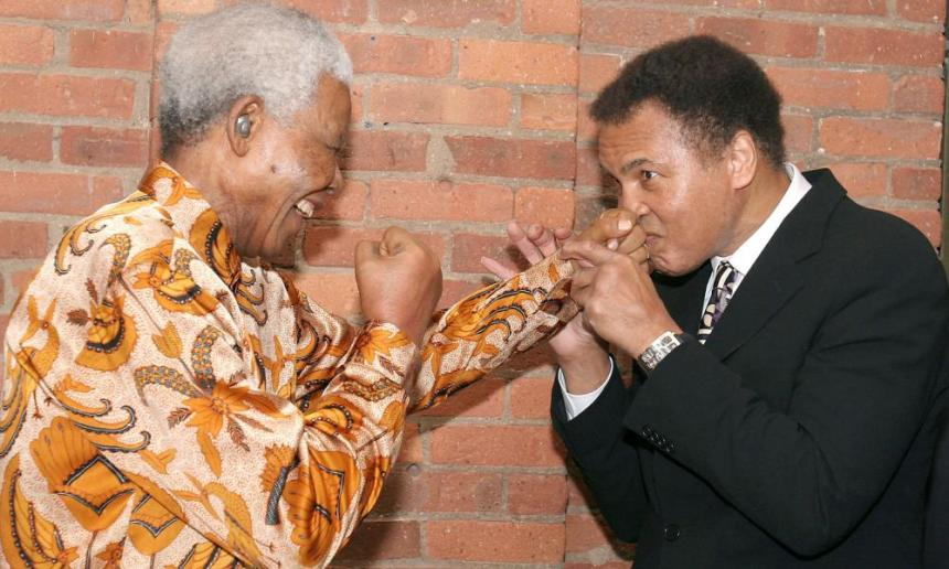 Muhammad Ali with Nelson Mandela at a dinner in New York in 2005.