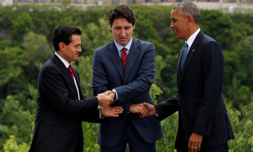 Mexico's President Enrique Pena Nieto, Canada's Prime Minister Justin Trudeau and U.S. President Barack Obama shake hands at the North American Leaders' Summit in Ottawa, Ontario, Canada, June 29, 2016.
