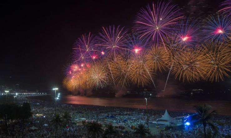Fireworks explode over Copacabana Beach during the celebrations in Rio de Janeiro.