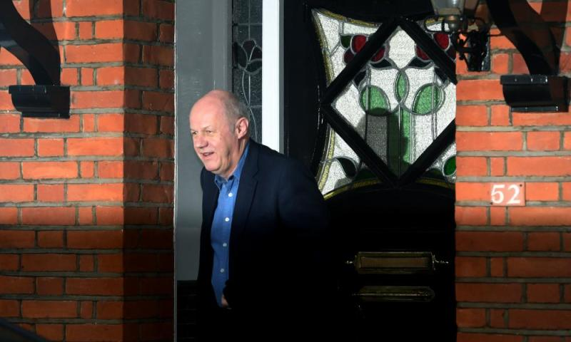 Damian Green leaving his home in West London this morning.