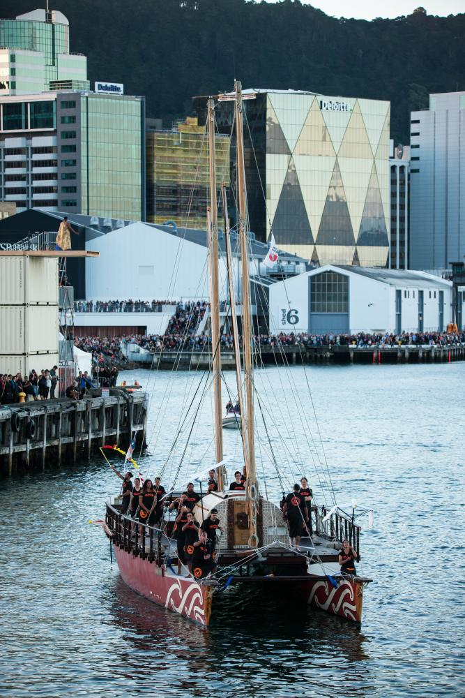 An estimated 20,000 people lined the Wellington waterfront to see A Waka Odyssey.
